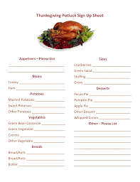 best thanksgiving menu template for thanksgiving potluck signup on