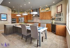 kitchen with integrated dining table