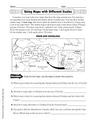 globe and maps worksheet using maps with different scales 5th 6th grade worksheet