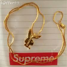 men gold necklace pendant images Supreme x playboy 14k gold necklace pendant men women for sale jpg