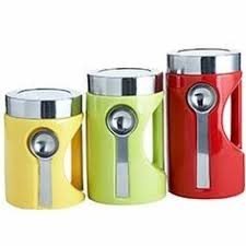 oggi kitchen canisters white square canister with spoon oggi 4 pc square canister set