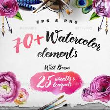 watercolor flowers u2013 hand drawn watercolor floral kit by bestwebsoft