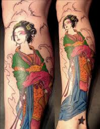ideas calf japanese tattoos with image japanese geisha
