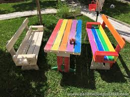 pallet picnic table and benches pallet wood projects