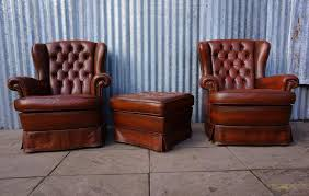 Wing Back Armchairs Vintage Tufted Leather Wingback Armchairs With Ottoman 1980s Set