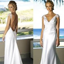low back beach wedding dress v neck backless wedding gown cup