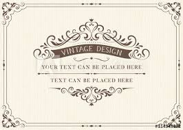 ornate vintage card design with ornamental flourishes frame use