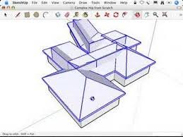 Hip And Valley Roof Design Sketchup Complex Hip Roofs And The Follow Me Tool Youtube