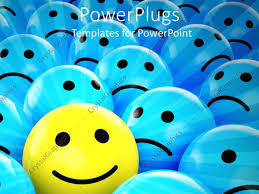 powerpoint template yellow happy smiley face between blue sad