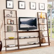 Desk With Tv Stand by Furniture Nice Brown Wood Leaning Bookcase With Tv Stand And