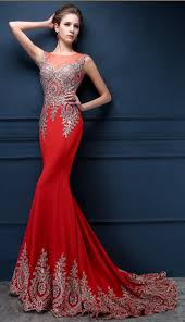 red mermaid charming applique 2017 evening dresses court train