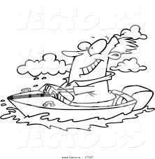 vector of a cartoon man boating coloring page outline by