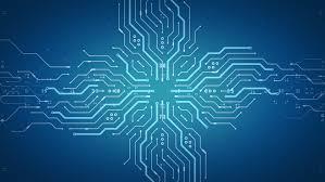 blue circuit board electronic hi tech tree growing computer
