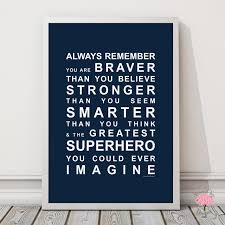wall art prints family quote prints quotes wall art wall art always remember you re a superhero wall art print in navy with optional white