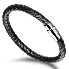 leather bracelets for men handmade men u0027s leather braided bracelet with stainless steel