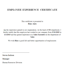 Experience Letter India experience certificate