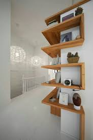 beautiful wood shelves that wrap around a corner dreamy