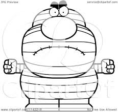 cartoon clipart of a black and white angry pudgy mummy vector