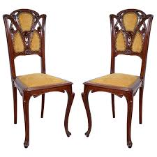 Antique French Armchairs Pair Of Antique French Art Nouveau Carved Walnut Side Chairs At