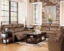 Transitional Style Furniture - leather brown sofa with modern nightstand also desk lamps and