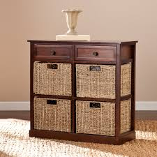 Rattan Baskets by Storage Shelves With Rattan Baskets