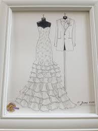 custom wedding dress and tuxedo sketch bride and groom by zoia