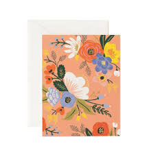 lively floral pink greeting card by rifle paper co made in usa