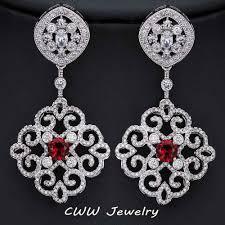 drop bridal earrings cwwzircons 2017 new arrival vintage cubic zirconia drop