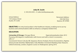 resume career objective objective in resume for internship it student exles college