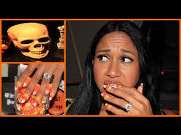 halloween nail design candy corn nail art w sensationail youtube