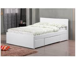 fusion pu leather 2 drawer double storage bed u2013 white paradise