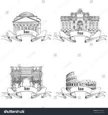 rome city symbols sketch pantheon constantins stock vector