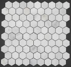 honed marble hex mosaic tile statuary white