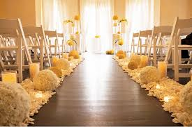 wedding ceremony decoration ideas wedding ceremony aisle wood with white yellow wedding flowers