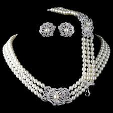 aliexpress pearl necklace images Rhodium ivory pearl rhinestone necklace 76010 earrings 76012 jpg