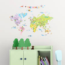 World Map Wall Decal by Multicoloured World Map Wall Stickers