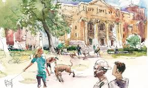 urban sketching drawing people in places
