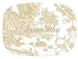 personalized melamine platters m442 beige toile personalized melamine plate platter
