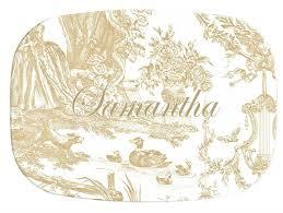 personalized melamine platter m442 beige toile personalized melamine plate platter