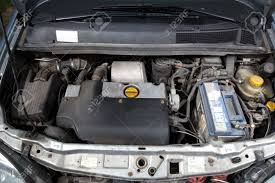 opel old open car hood and old turbo diesel engine stock photo picture and