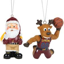 cleveland cavaliers reindeer santa 2 pack ornament set
