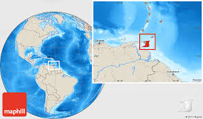 where is and tobago located on the world map shaded relief location map of and tobago