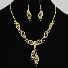 wedding necklace designs gold rhinestone flower design bridal wedding necklace earring set