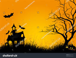 halloween background siloette halloween night background haunted house bats stock vector