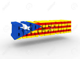 Flag Of Catalonia Barcelona City Name Textured By Flag Of The Catalonia Flag 3d