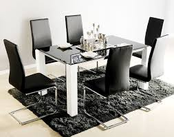 Glass Dining Table With 6 Chairs Atlantis Viva Black Glass Dining Table With 6 Chairs Blue