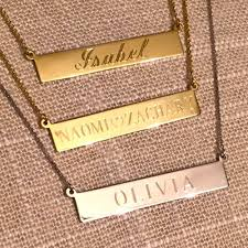 gold name plate necklace personalised engraved nameplate necklace annielka 14k gold jewelry