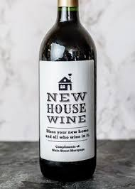 wine label realtor closing gift new home label with house with or