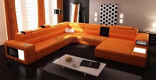 modern bonded leather sectional sofa polaris orange contemporary bonded leather sectional sofa by vig