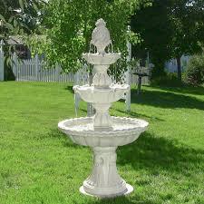 fountains for home decor sunnydaze welcome 3 tier garden fountain 59 inch tall